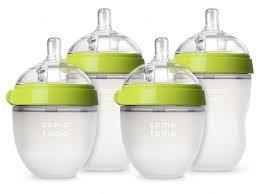 Comotomo - Baby Bottles - Baby Feeding - Green - 4 Pack - Two 5 Ounce Bottles and Two 8 Ounce Bottles (Best Bottles For Newborns)