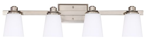 Bathroom Vanity Light Fixture,4-Light Wall Sconce with Opal Glass Shade,UL Listed,Brushed Nickel Finish by Cloudy Bay