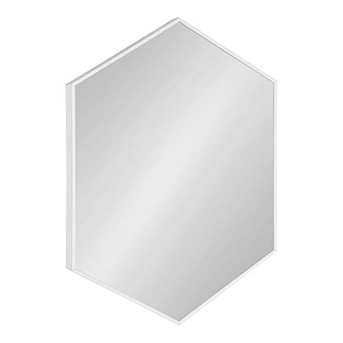 Kate and Laurel Rhodes Modern Hexagon Wall Mirror, White, 31×22-Inches