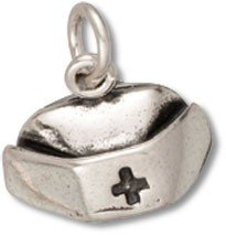 Sterling Silver Necklace With 3D Nurses Medical Cross Hat Pendant