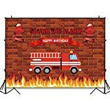 Funnytree 7x5ft Red Firetruck Birthday Party Backdrop Sound The Alarm Baby Boy Photography Background Brick Wall Fire...