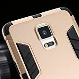 Samsung Galaxy Note 4 Shockproof Armor Back Case Cover with Kickstand (Golden)