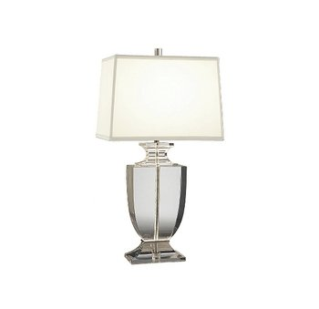 Robert Abbey 3324W Lamps with Rectangular Off-White Dupioni Silk Shades, Clear Lead Crystal/Silver Plate Accents - Robert Table Abbey Rectangular Lamp