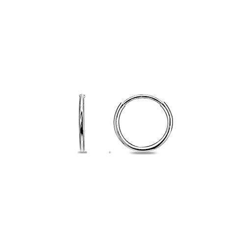 14K White Gold Tiny Small 1.2mm Round Thin Lightweight Unisex Endless Hoop Earrings, 10mm (white-gold) ()