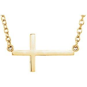 14K jaune croix latérale 40,6cm Collier avec extension 5,1cm