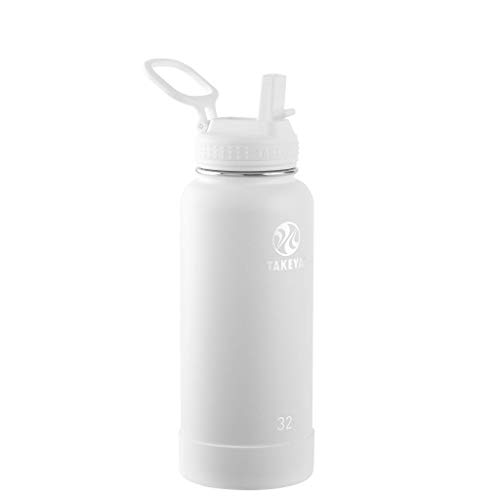 Takeya Actives Insulated Stainless Steel Water Bottle with Straw Lid, 32 oz, Arctic
