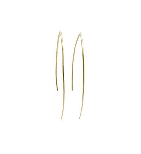 Wishbone Gold Rings (Hammered Wishbone Threader Earrings, 14K Gold Filled Minimalist Wire Curved Arc Earrings)