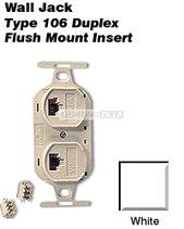 leviton duplex white phone jack 110 type voice 4 wire type. Black Bedroom Furniture Sets. Home Design Ideas