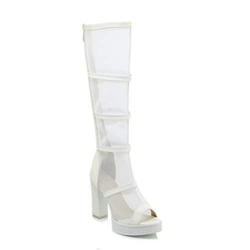 Jiahe Femmes De À 35 Bottes Tube Soirée Talons Net Bouche Poisson Taille Zipper Sandales Pour Haut white Dames Grande Chaussures Fil Hauts 4qB4Fwr