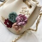 White Women Ladies Florals Bag Flower Bag Handbag Messenger Shoulder Bags Bead Mini Flap Bag Chain Crossbody Leather Girl White p5w8BUx