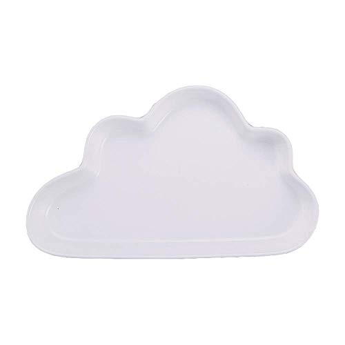 White Plate Creative Irregular Ceramic Plate Cute Pure Color Cloud Shaped Tray Steak Soup Bread Dish Cake Dessert Salad Fruit Sushi Snack Noodle Candy Plate Smooth Surface Gift Friend Kid Family Chef Bracelet White Salad Plate