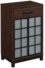 Uptown Loft Home Office Furniture Cabinet - Bottle Wine Storage - Saw Cut Espresso (Wine Cabinet)