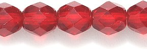 Preciosa Czech Fire 6 mm Faceted Round Polished Glass Bead, Transparent Dark Ruby, 150-Pack
