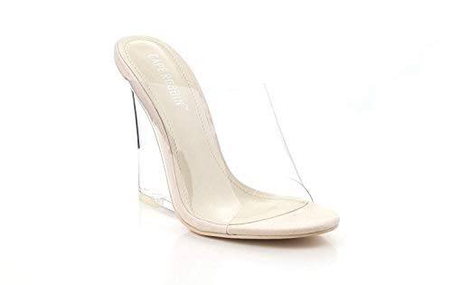 (Michelle Parker Cape Robbin Lemonade Transparent Clear Nude Foot Bed Lucite Wedge Heel Mule (10))