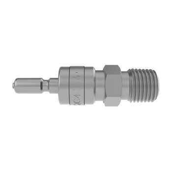 "Tylok QC Series (SESO) Quick Connect Stem, 316L Stainless Steel - 3/8"" Body, 1/4"" Male NPT Port (Unvalved)"