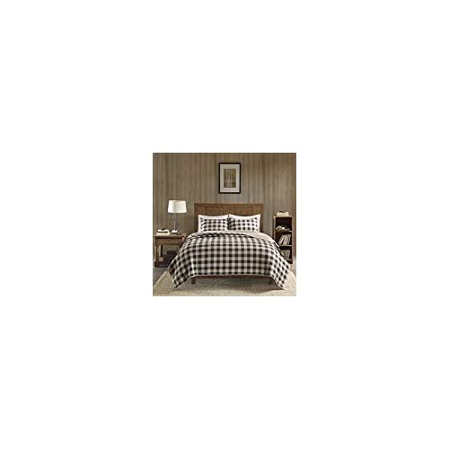 Image of 3 Piece Classic Buffalo Checkered Quilt Set Full/Queen, Allover Stylish Cabin Check Pattern, Vibrant Solid Color Reverses Bedding, Elegance lodge, Plaid Themed, Unisex Tan Brown, Black Color