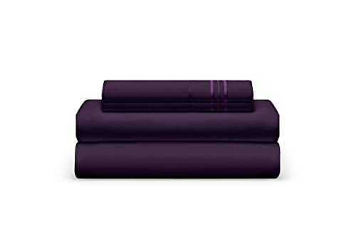 Split California King Bed Sheet Set - Plum Luxury Sheet Set - Super Soft Hotel Bedding Deep Pocket - Cool & Wrinkle Free - 2 Fitted, 1 Flat, 2 Pillow Cases - Sugar Plum King - 5 Pieces