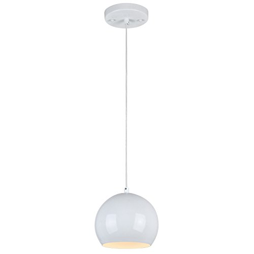 Westinghouse 6101800 Casual One-Light Adjustable Mini Pendant with Metal Shade, White Finish For Sale