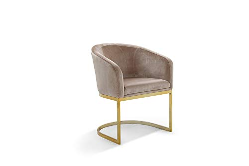Iconic Home Siena Accent Club Chair Shell Design Velvet Upholstered Half-Moon Gold Plated Solid Metal U-Shaped Base Modern Contemporary Taupe