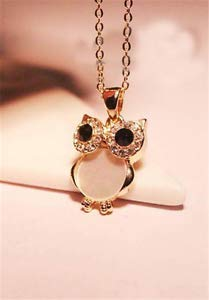 Fashion Womens Owl White Crystal Rhinestone Gold Chain Penda