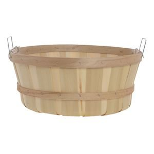 "Shallow Bushel Basket,15""x7.5"", Two Metal Side Handles from Retail Resource"