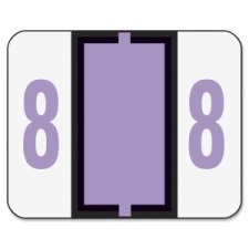 Smead SMD67378 Single Digit End Tab Labels, Number 8, Lavender-On-White, 500/Rol, White