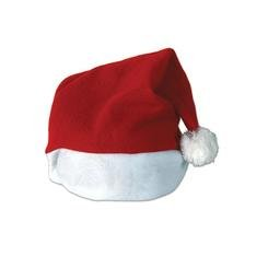 Red with White Trim Plush Santa Hat Christmas Costume Accesories- One Size Fits Most]()