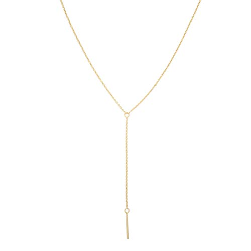 (HONEYCAT Lariat Bar Necklace in 24k Gold Plate | Minimalist, Delicate Jewelry)