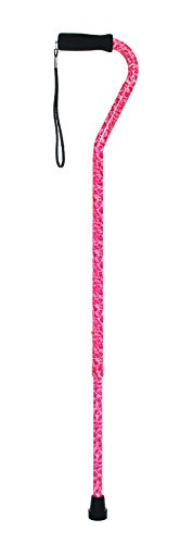 Essential Medical Supply Offset Cane with Rib Handle with Bouquet Design