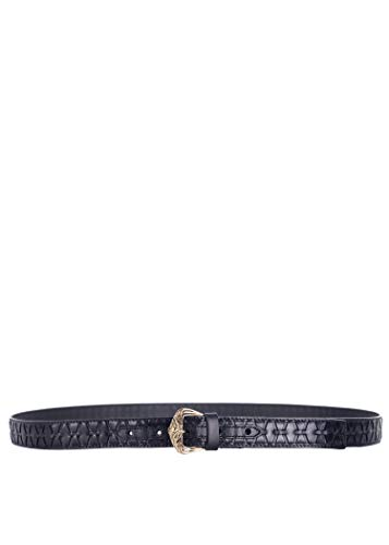 Roberto Cavalli Womens Black Leather Parallel Laser Cut Out Belt IT100/L~RTL$595