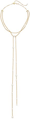 Michael Kors Modern Classic Gold-Tone, White Pearl and Crystal Charm Lariat Slider Choker Necklace, 22'' by Michael Kors