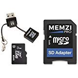 MEMZI PRO 64GB Class 10 90MB/s Micro SDXC Memory Card with SD Adapter and Micro USB Reader for AKASO Action Cameras