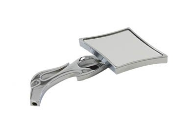 Motorcycle Diamond Mirror with Billet Flame Stem, Chrome ()