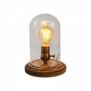 Lámpara De Mesa Tule De Vidrio Vintage Madera industrial lámpara ...