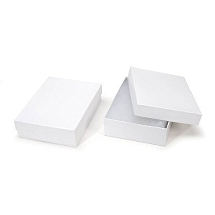 RJ Displays- 20 Pack Cotton Filled Elegant White Jewelry Box for Pocket Watch, Ring, Earring, Necklace Chain Jewelry Collectibles and Gift 3 1/4