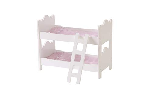 WODENY Doll Furniture Bunk Bed in White with Ladder fits American Girl Dolls