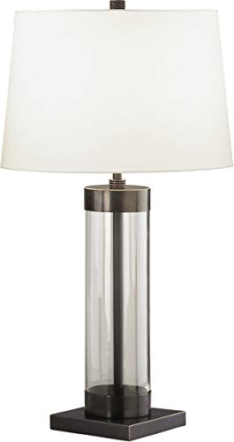 (Robert Abbey Z3318 Lamps with Off White Cotton Shades, Clear Glass Cylinder/Deep Patina Bronze Finish)