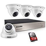 (ZOSI Security Camera System 8CH 1080N/720P 4-IN-1 HD-TVI DVR Recorder with (4) 1.0MP 1280TVL Weatherproof Indoor/Outdoor Surveillance Dome Cameras, 1TB Hard Drive, Motion Alert& Remote Access (White))