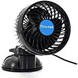 Wua 12V 6 inch Car Cooling Fan Automobile Vehicle Adjustment Suction Cup Fan Powerful Quiet Ventilation Electric Fans with Suction Cup & Cigarette Lighter Plug for Car/ Vehicle