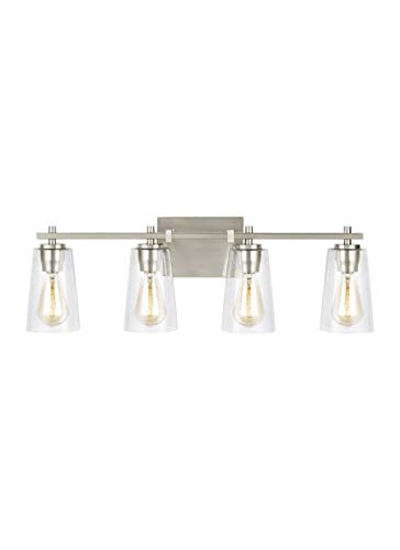 Feiss VS24304SN Mercer Glass Wall Vanity Bath Lighting, Satin Nickel, 4-Light (29