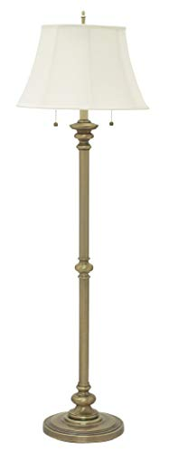 House Of Troy N601-AB Newport Collection Portable Floor Lamp with Off-White Softback Shade, 57-1/2