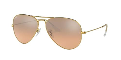 - Ray-Ban RB3025 Aviator Large Metal Unisex Aviator Mirror Sunglasses (Gold Frame/Crystal Brown Pink Silver Mirror 001/3E, 58)