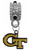 Georgia Tech Yellow Jackets BLACK & CLEAR Rhinestone/Gem Charm with Connector - Universal European Slide On Charm - ''Classic & Original Style'' Perfect For Bracelets, Necklaces, & DIY Jewelry by CustomCharms
