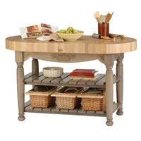 (Harvest Table Kitchen Island (Useful Gray Stain) (36