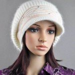 Stylish Design Dual Layers Crystals Rabbit Hair Knitting Leisure Hat with Hair Ball Top for Girls(White)