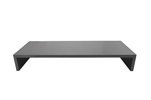 Design Monitor Bildschirm Ständer Schreibtischregal Standfuß Schwarz glänzend B / H / T 60 x 12 x 30 cm