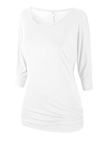 Match Women's 3/4 Sleeve Drape Top with Side Shirring(140 White,Large)