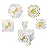Unicorn Party Supplies, Disposable Plates, Napkins, Cups, Bowls, Tablecloth, Unicorn-Theme Party Supply Pack, 6-Piece Bundle