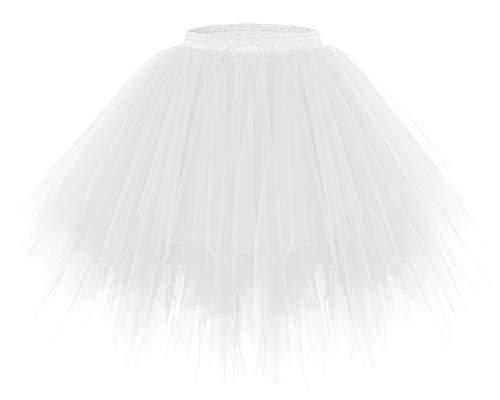 Bridesmay Women's Tutus Tulle Skirt 50s Vintage Petticoat Ballet Bubble Skirts White M -