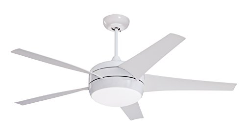 Emerson CF955LWW Midway Eco 54-inch Modern Ceiling Fan, 5-Blade Ceiling Fan with LED Lighting and 6-Speed Remote Control (Glass White Featuring Fixture Globe)